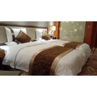 供应宾馆用品 酒店用品 客房漂白加密缎条床上用品四件套