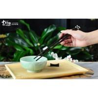 吉祥家 新中式红木筷子 高档黑酸枝镶贝壳餐具 无漆无蜡筷架